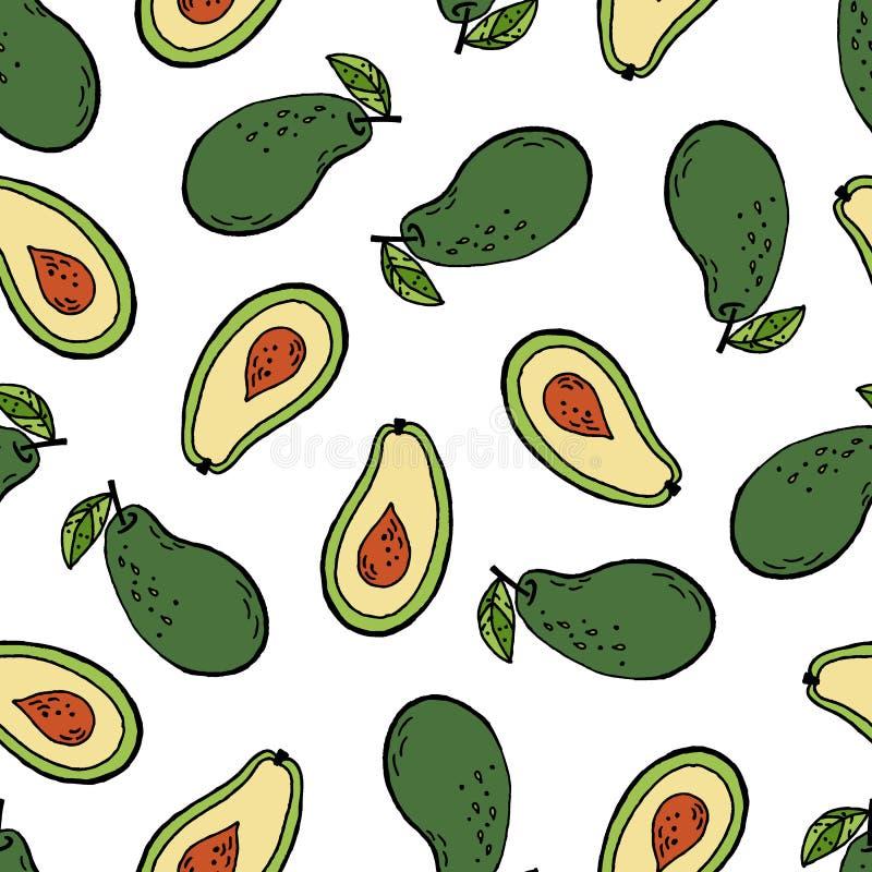 Modell för tropisk frukt för avokado sömlös vektor illustrationer