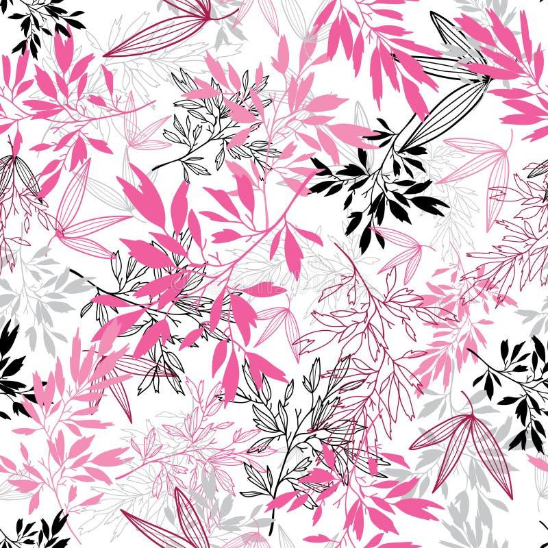 Modell för tropisk sommar för sidor för vektorrosa färgsvart sömlös med tropiska magentafärgade växter och sidor på vit bakgrund vektor illustrationer