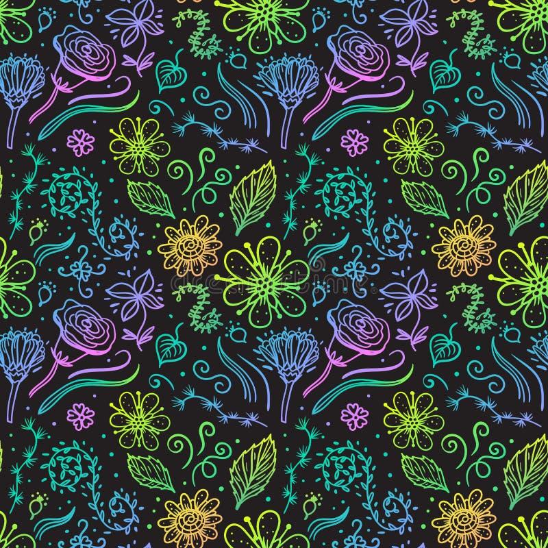 Modell för utdragen blomma för hand sömlös på mörk bakgrund Abstrakt yttersidadesign för vektor stock illustrationer