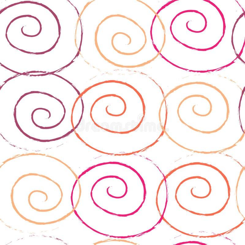 Modell för utdragen spiral knastrande för hand för effekt för färgfärgpulverborste sömlös stock illustrationer