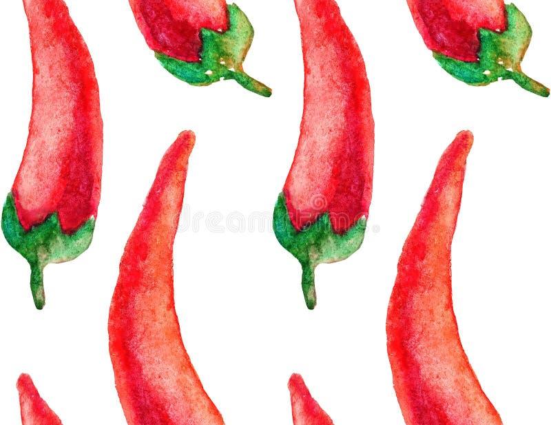 Modell för utdragen vattenfärg för hand mörk sömlös med röda kyliga peppar på den svarta bakgrunden Handmålning på papper för oms royaltyfri illustrationer