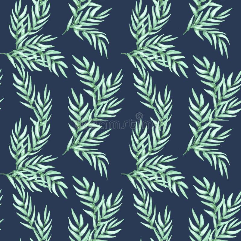 Modell för utdragen vattenfärg för hand sömlös av naturliga filialer för lövverk, gröna sidor på blå bakgrund stock illustrationer