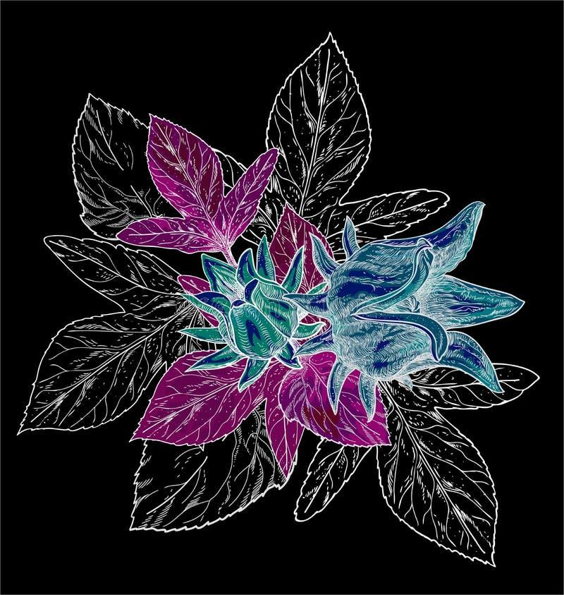 Modell för utdragen vattenfärg för hand sömlös med färgrika tropiska blommahibiskusar och sidor på den mörka bakgrunden royaltyfri illustrationer