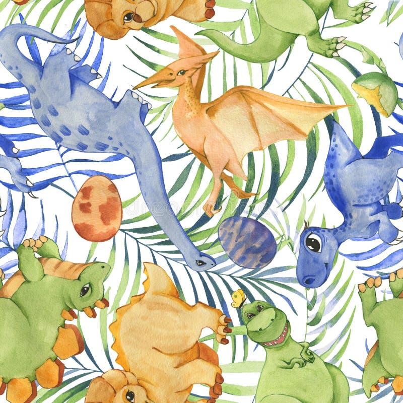 Modell för utdragen vattenfärg för hand sömlös med gulliga dinosaurier och tropiska sidor vektor illustrationer
