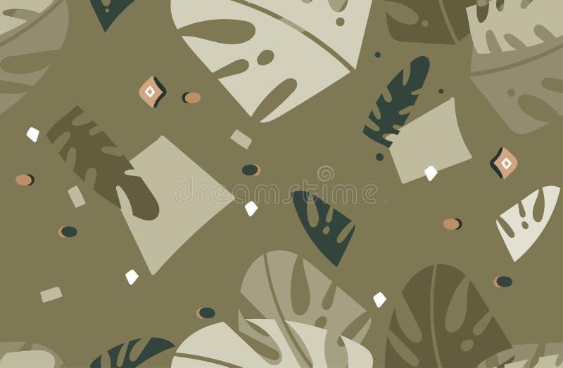 Modell för utdragen för vektor för hand sömlös abstrakt modern grafisk tropisk för natur dekorativ stam- för illustrationer colla stock illustrationer