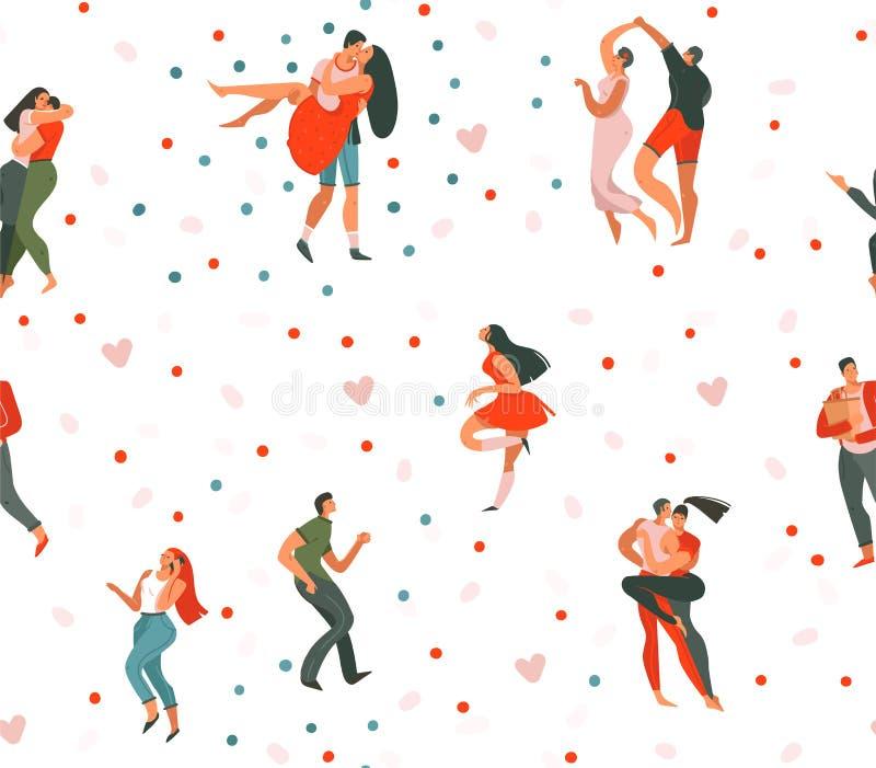 Modell för utdragen för vektor för hand sömlös abstrakt för tecknad film modern grafisk lycklig för valentin för dag för begrepp  vektor illustrationer