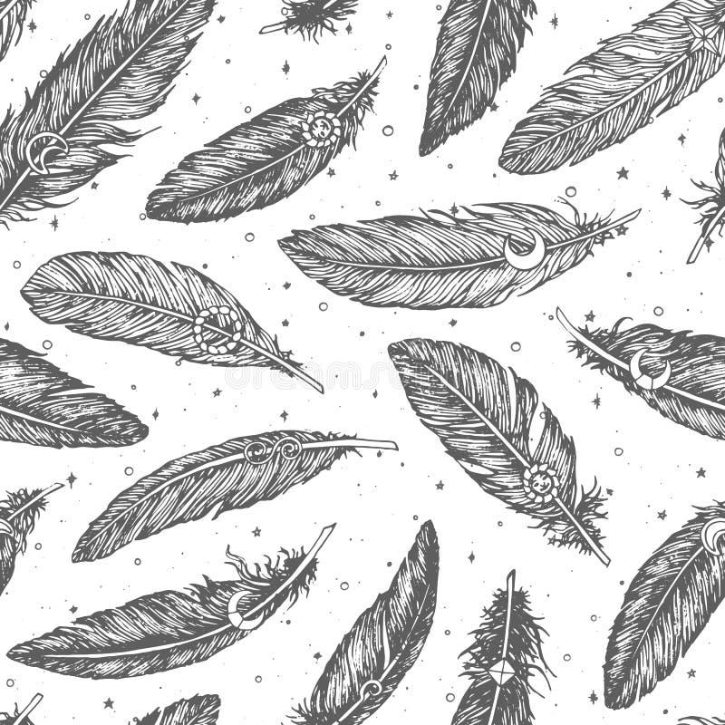 Modell för utdragen vektor för hand sömlös med den detaljerade fjäderlinjen konst på stjärnklar vit bakgrund Boho garnering royaltyfri illustrationer