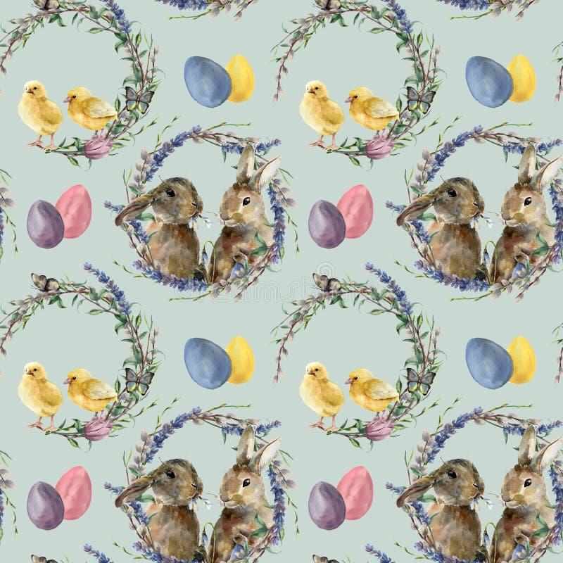 Modell för vattenfärgeaster krans med kanin Hand målad höna med lavendel, pil, tulpan, färgägg, fjäril vektor illustrationer
