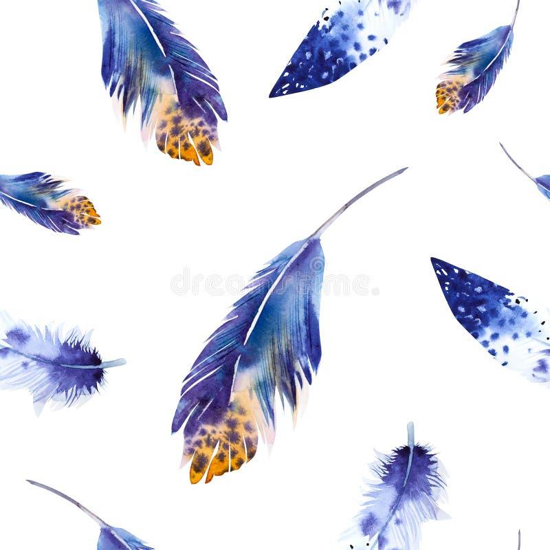 Modell för vattenfärgfågelfjädrar seamless royaltyfri illustrationer