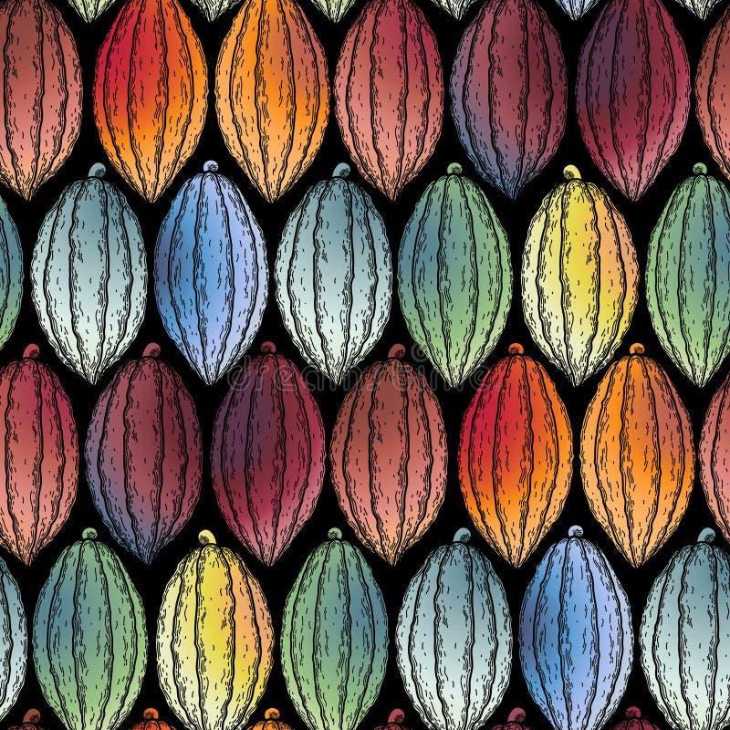 Modell för vattenfärgkakaofrukter stock illustrationer