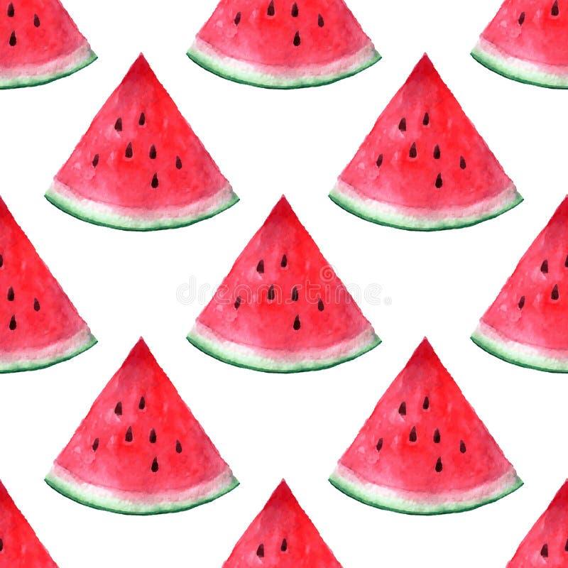 Modell för vattenmelon för vattenfärg för vektor sömlös hand dragen royaltyfri illustrationer
