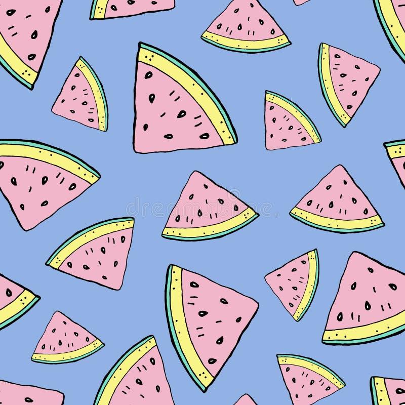 Modell för vattenmelonhandteckning royaltyfri illustrationer