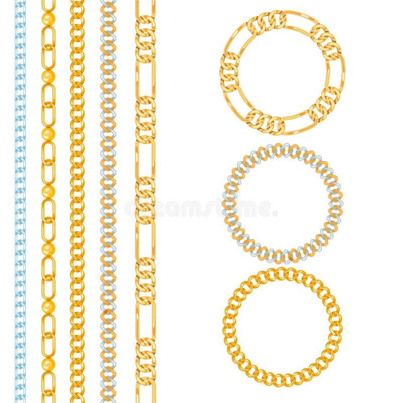 Modell för vektor för anslutning för styrka för kedjesammanlänkning sömlös av metall anknöt delar och det starka tecknet för järn stock illustrationer