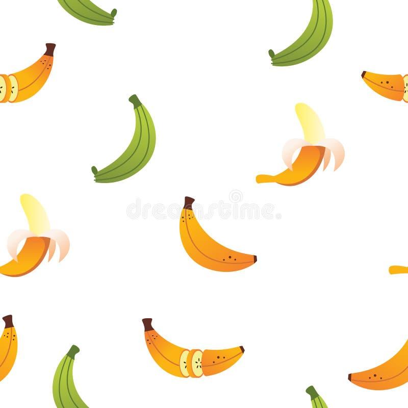 Modell för vektor för bananFriut symbol sömlös royaltyfri illustrationer