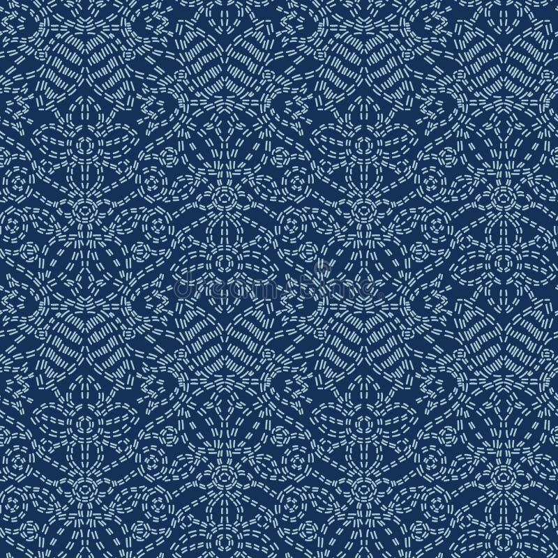 Modell för vektor för blom- motivSashiko StyleJapanese handarbete sömlös Indigoblå Blue Line för handhäftklammer textur för texti vektor illustrationer