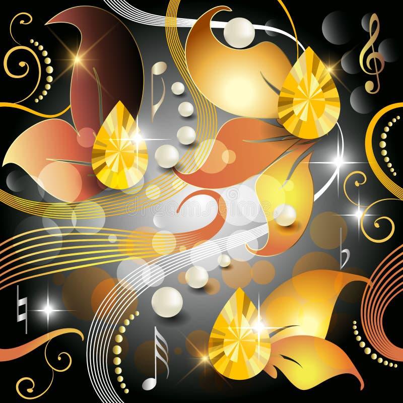 Modell för vektor 3d för eleganstappning glödande sömlös Blom- höstsidor glöder färgrik skinande bakgrund Smyckenpärlor, stock illustrationer