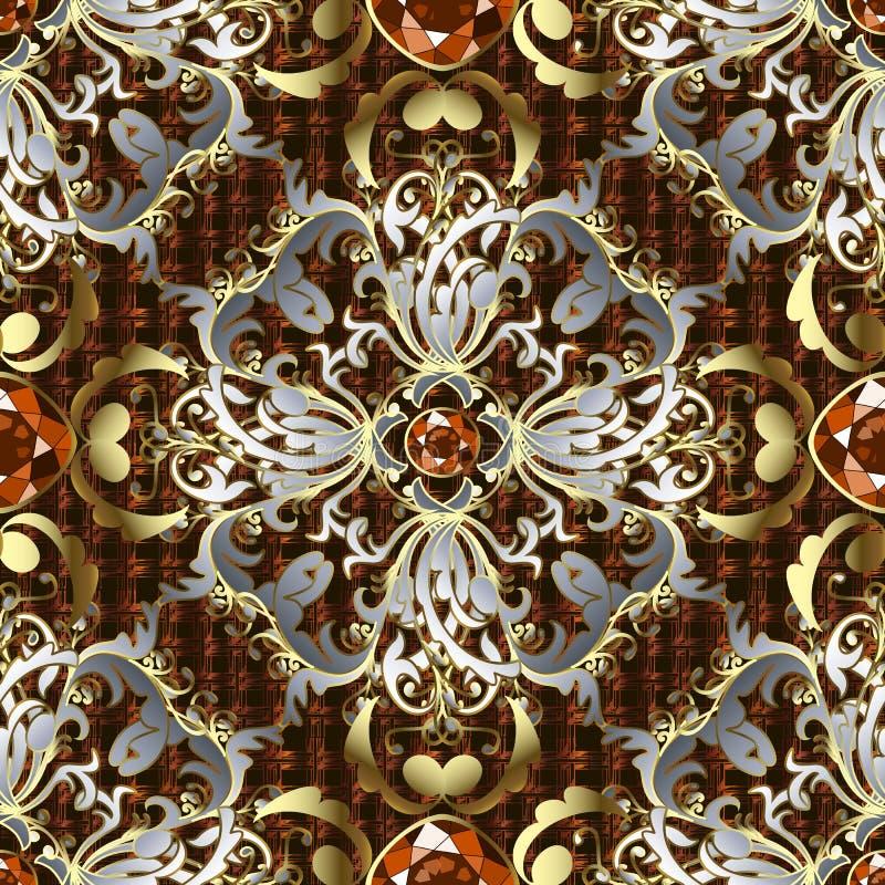 Modell för vektor 3d för smycken barock sömlös Texturerad rasterbakgrund Blom- bakgrund f?r utsmyckad repetition Barock prydnad f stock illustrationer