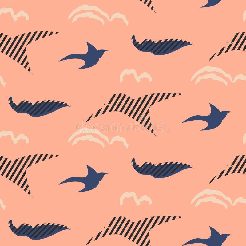 Modell för vektor för fågelkonturabstrakt begrepp sömlös royaltyfri illustrationer