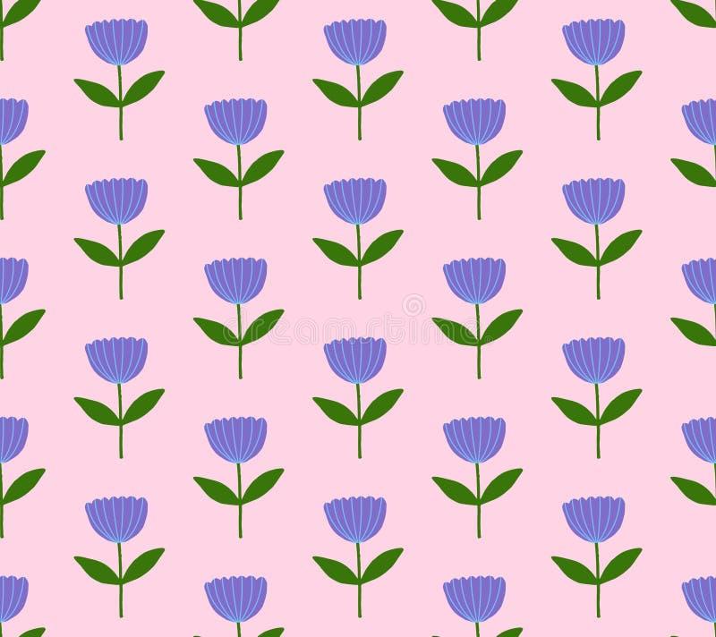 Modell för vektor för blommaväxtnatur blom- sömlös royaltyfri illustrationer