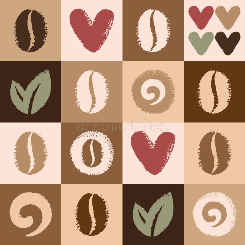 Modell för vektor för för kaffebönor och hjärtor sömlös stock illustrationer