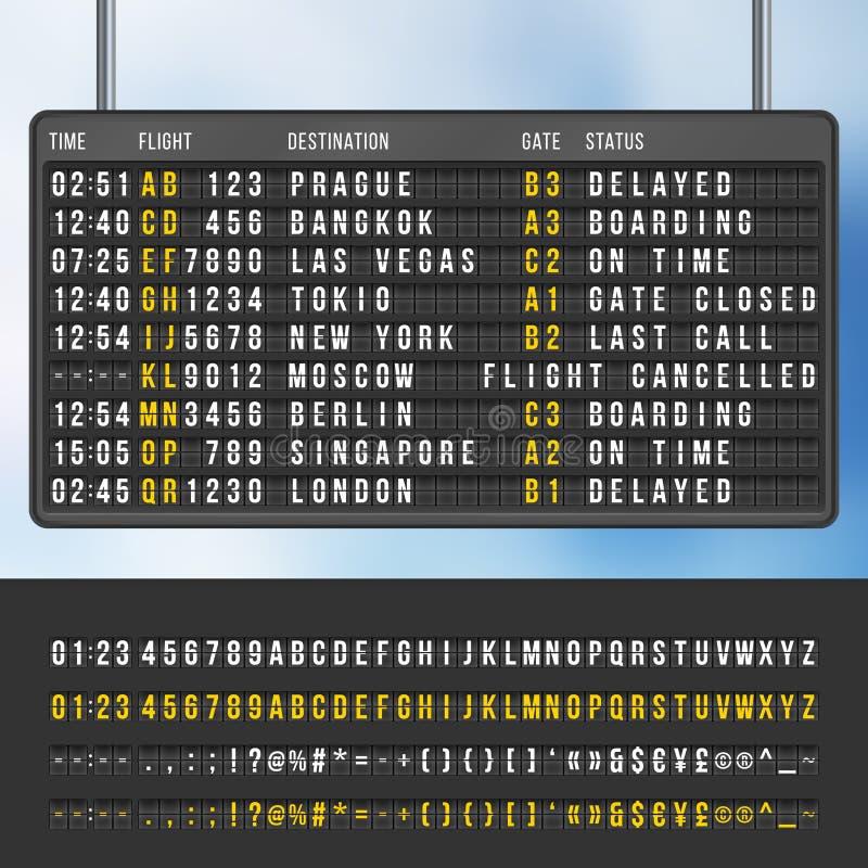 Modell för vektor för funktionskort för information om flygplatsflipankomster royaltyfri illustrationer