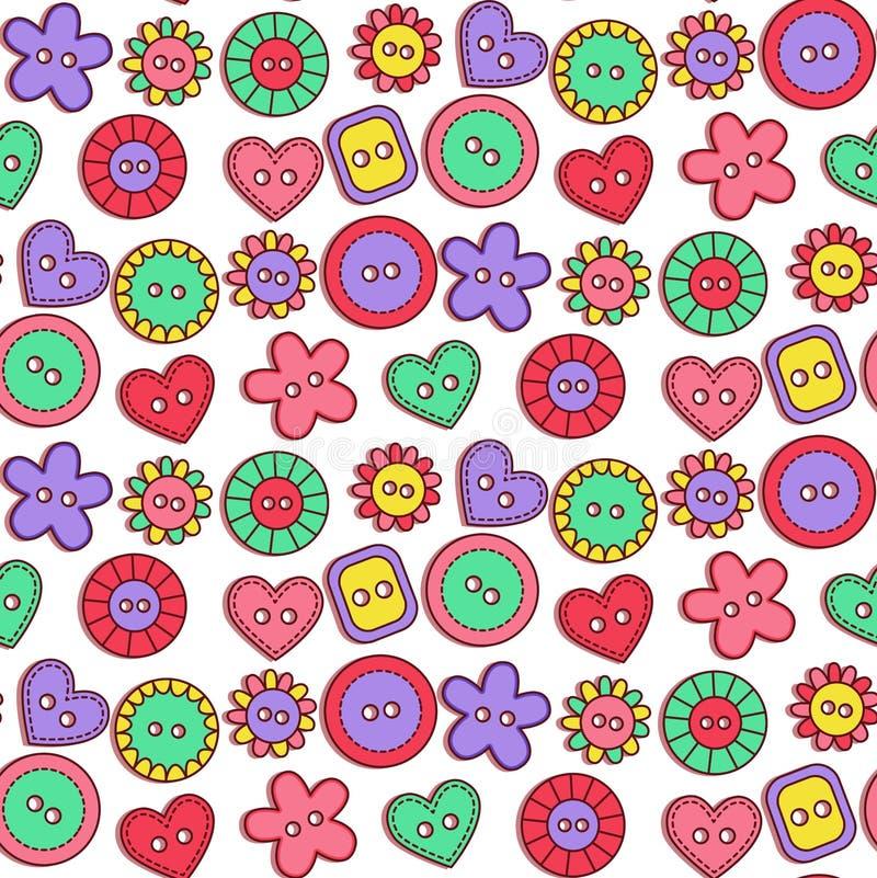 Modell för vektor för gulliga knappar för klotter sömlös royaltyfri illustrationer