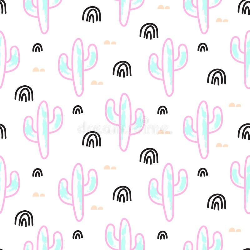 Modell för vektor för kaktusväxtneon sömlös Abstrakt tryck för tecknad filmökentyg stock illustrationer