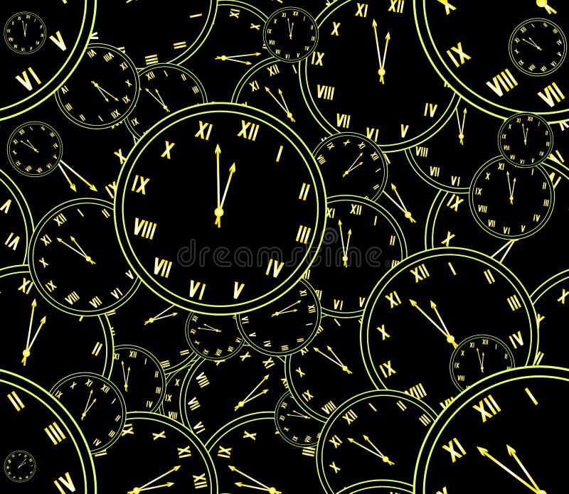 Modell för vektor för lyckligt nytt år sömlös med många stor och liten guld- klocka som visar fem minuter till midnatt vektor illustrationer