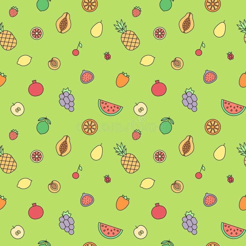 Modell för vektor för mångfärgad översikt för frukter sömlös modern minimalistic design royaltyfri illustrationer