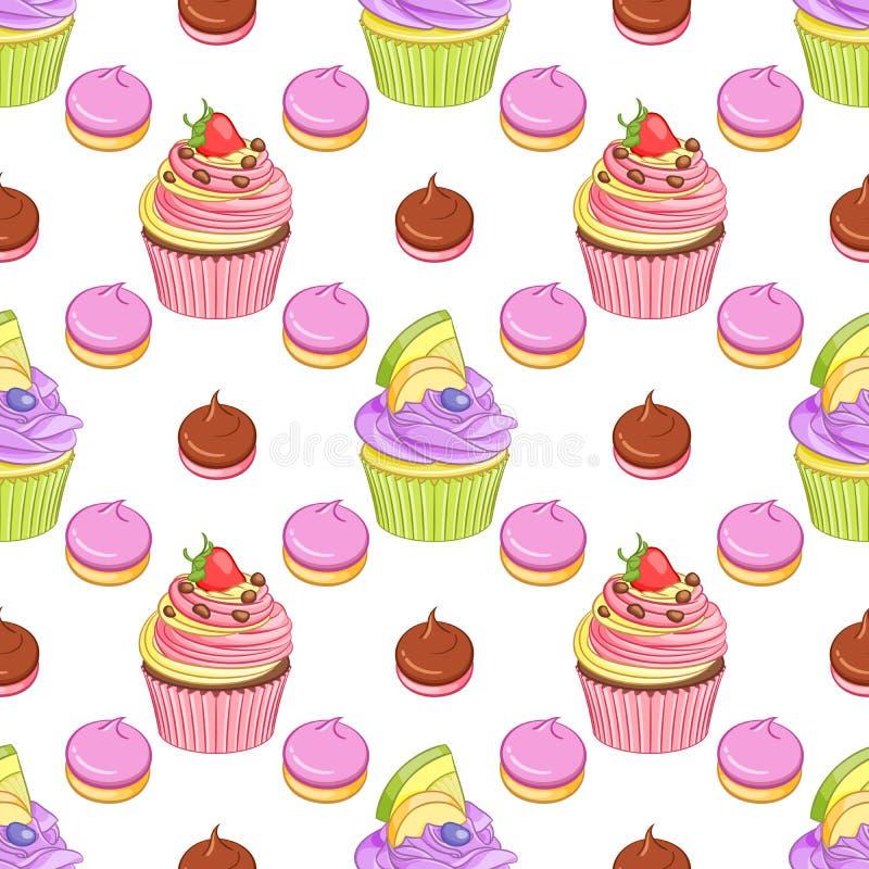 Modell för vektor för muffin och för marängar för jordgubbechoklad- och blåbärcitron sömlös royaltyfri illustrationer