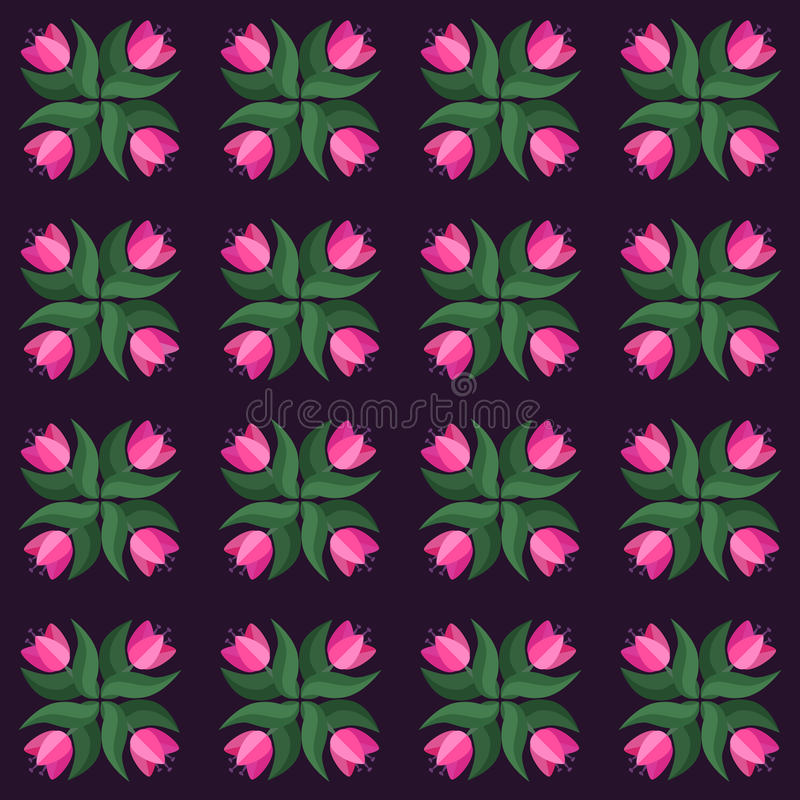 Modell för vektor för sömlös tulpantappning violett stock illustrationer