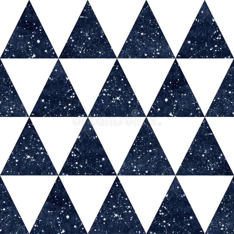 Modell för vektor för trianglar för vattenfärgnatthimmel sömlös stock illustrationer