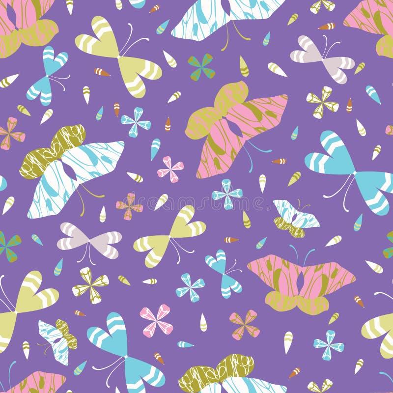 Modell för vektor för grafiska fjärilar för stor skala sömlös tecknad hand royaltyfri illustrationer