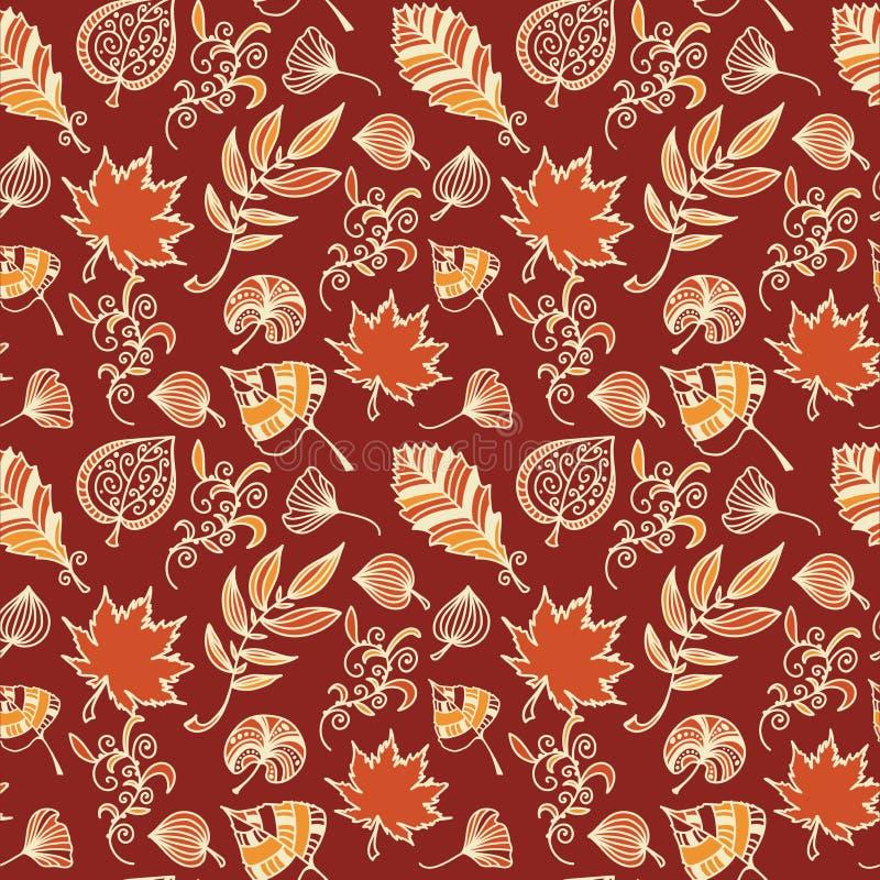 Modell för vektor för höstsidor sömlös Botanisk bakgrund i färger av apelsinen, rött och beige stock illustrationer