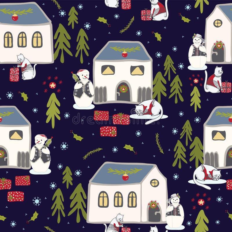 Modell för vektor för julkattby festlig sömlös, drog gåvaaskar royaltyfri illustrationer