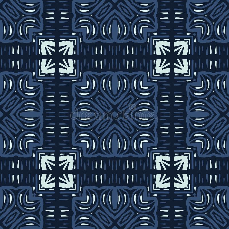 Modell för vektor för motiv för mosaisk tegelplatta för patchwork sömlös Utdragen japansk stil för hand vektor illustrationer