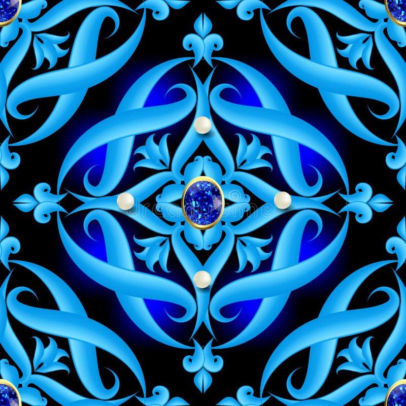 Modell för vektor för smyckentappning 3d sömlös Barock damast dekorativ glödande blå bakgrund Dragen lyxig hand stock illustrationer