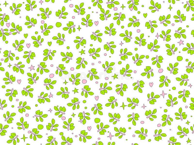 Modell för vektor för sommargräsplansidor sömlös bladmodell för lövfällande träd, fallande tecknad filmsidor på vit bakgrund vektor illustrationer