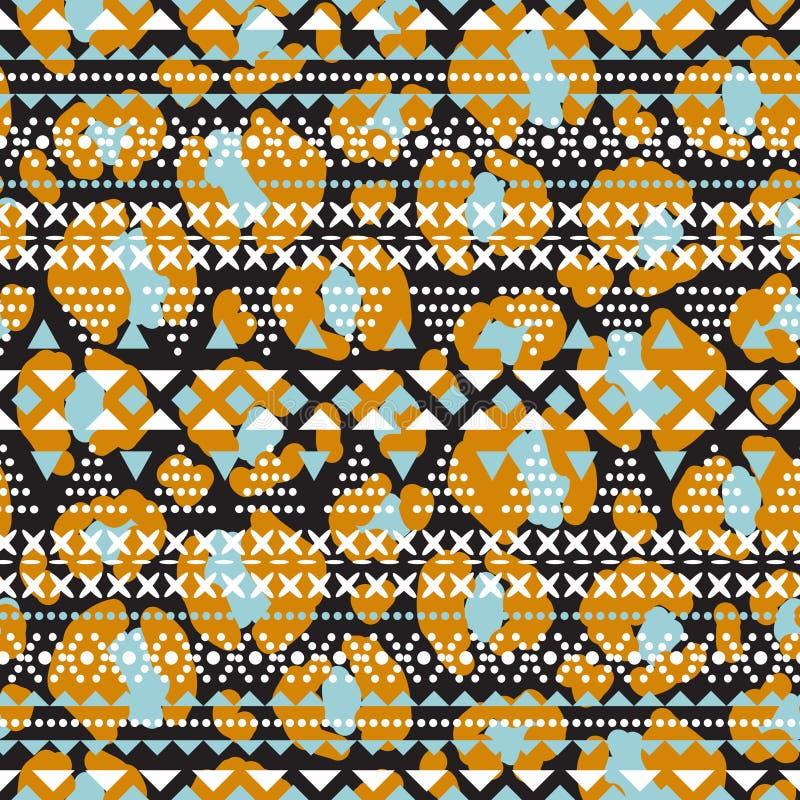 Modell för vektor för stam- etniska former för broderi geometriska sömlös Det sydde leopardtrycket texturerade formbakgrund stock illustrationer