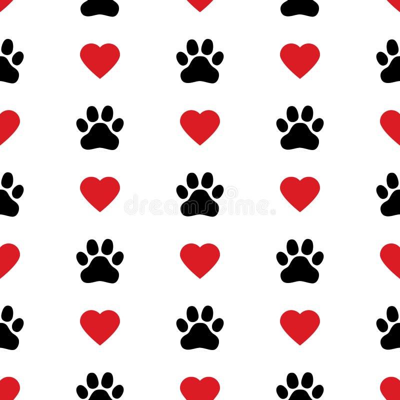 Modell för vektor för valentin för kattunge för tryck för fot för valp för förälskelse för hundPaw Cat Paw hjärta sömlös stock illustrationer