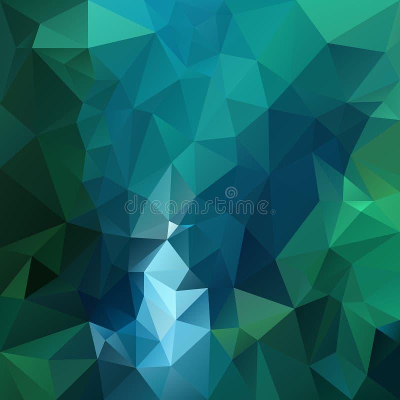 Modell för vektorpolygonbakgrund - triangulär geometrisk design i mörk smaragdfärg - gräsplan och blått royaltyfri illustrationer
