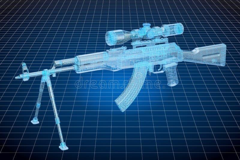 Modell för Visualization 3d CAD av vapnet, conce för militär teknik stock illustrationer