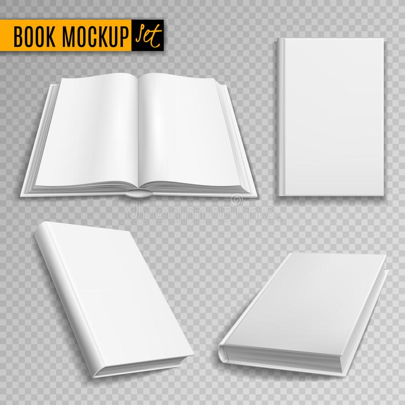 Modell för vit bok Realistiska böcker täcker katalogen för hardcoveren för tidskriften för läroboken för den tomma broschyrräknin stock illustrationer