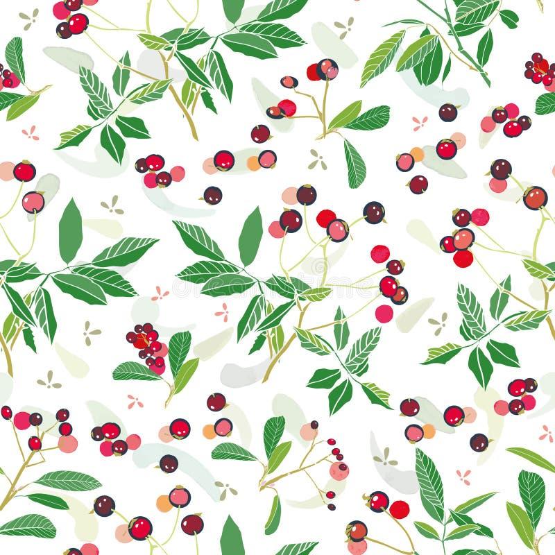 Modell för vit jul med den rosa växten och knoppar stock illustrationer