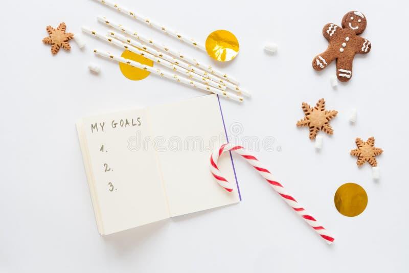 Modell för vit jul med kakor fotografering för bildbyråer