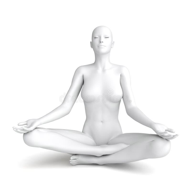 modell för vit kvinna 3D royaltyfri illustrationer