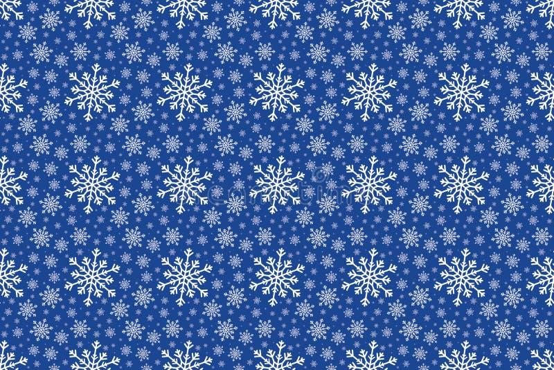 Modell för vit snöflinga för vinter sömlös på blå bakgrund stock illustrationer
