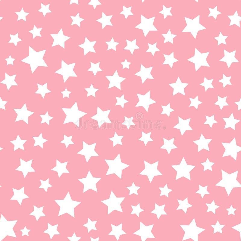 Modell för vit stjärna för vektor som sömlös isoleras på rosa bakgrund royaltyfri illustrationer