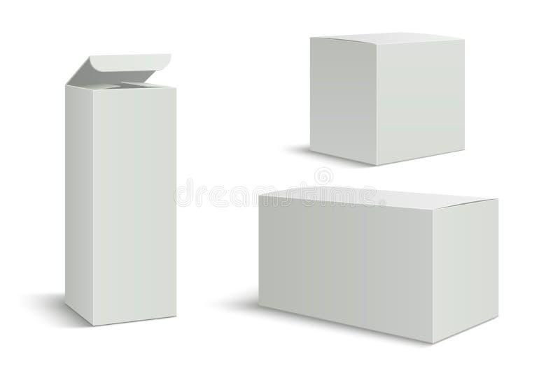 Modell för vita askar Packeask för mellanrum 3d för kosmetiska produkter för medicin Långt högväxt rektangelpapper som förpackar  royaltyfri illustrationer