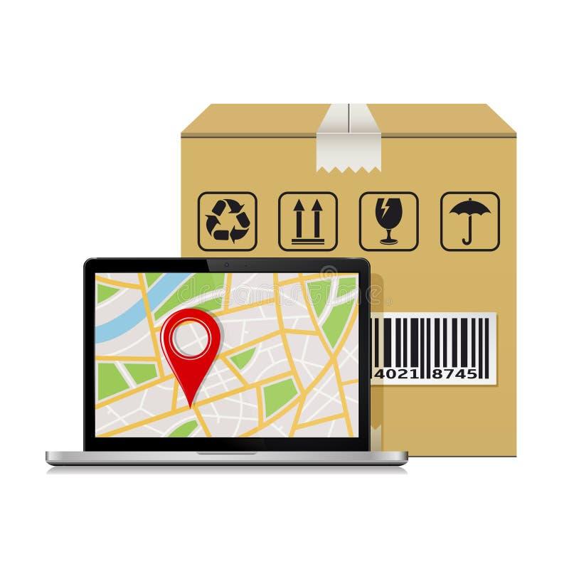 Modell für Versandspurhaltungsbestellung des paketes lizenzfreie abbildung